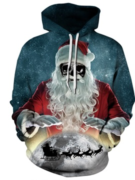 Long Sleeve Christmas Skull Santa Pattern 3D Painted Hoodie