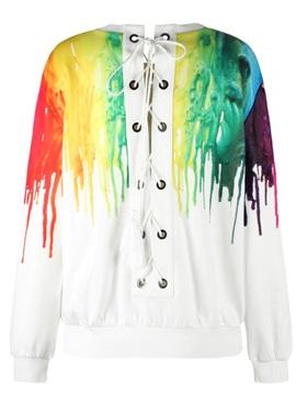 Pullover Sweatshirt Tie Back Rainbow Color Falling Printed Women Hoodies