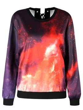 Pullover Sweatshirt Tie Back Ruby Sky Printed Design Women Hoodies