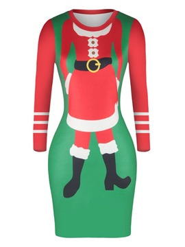 Christmas Sweater Santa Claus Pullover Women Dress