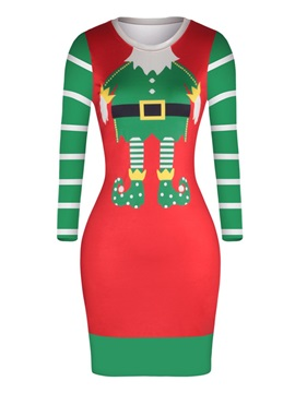 Christmas Sweater Santa Shoes Cloth Pattern Pullover Women Dress