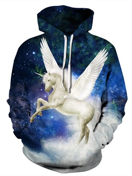 Long Sleeve Galaxy Unicorn Wings Pattern 3D Painted Hoodie