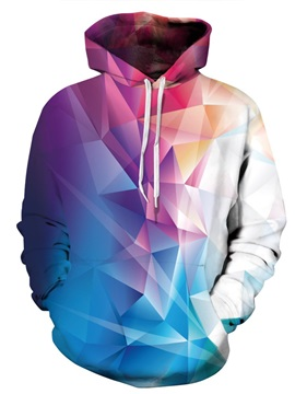 3D Colorful Rhombus Pattern Men Sweater Long Sleeve Cool Hoodies