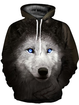 Cool Long Sleeve Wolf with Blue Eyes Pattern 3D Painted Hoodie