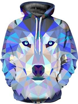 Long Sleeve Geometric Rhombus Wolf Pattern 3D Painted Hoodie