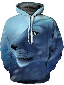 Cool Long Sleeve Calm Tiger Face Pattern 3D Painted Hoodie