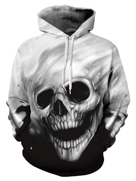 Unique Long Sleeve Grey Skull Pattern 3D Painted Hoodie