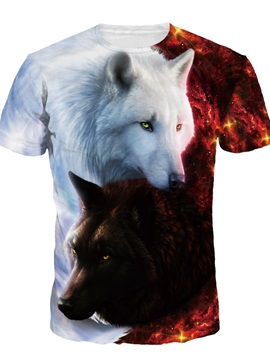 Black White Couple Wolf Short Sleeve Round Neck 3D Painted T-Shirt