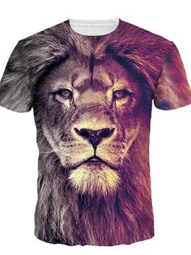 Lion Face Short Sleeve Round Neck 3D Painted T-Shirt