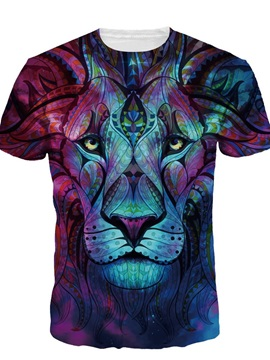 Boho Style Lion Short Sleeve Round Neck 3D Painted T-Shirt