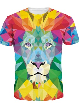Geometric Abstraction Lion Short Sleeve Round Neck 3D Painted T-Shirt