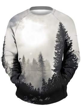 3D Grey Forest Men Sweater Round Neck Cool Hoodies