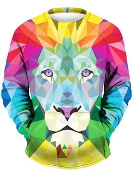Long Sleeve Colorful Lion Face Pattern 3D Painted Hoodie