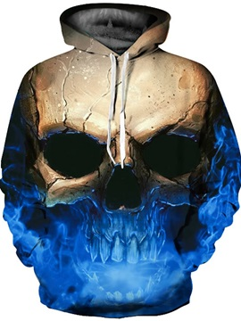 Unique Long Sleeve Skull Blue Color Pattern 3D Painted Hoodie