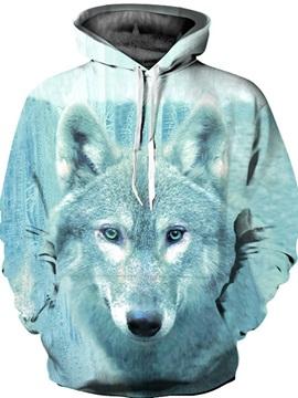 Long Sleeve Blue Wolf Pattern 3D Painted Hoodie