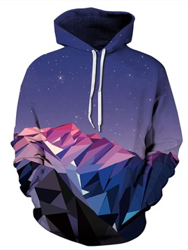 Long Sleeve Mountain Range Galaxy Pattern Pocket 3D Painted Hoodie