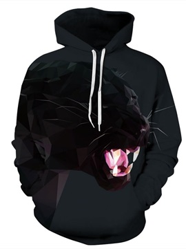 Long Sleeve Fierce Leopard Pattern 3D Painted Hoodie