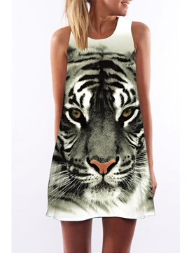 3D Tiger Face Print Crew Neck Sleeveless Women Summer Dress