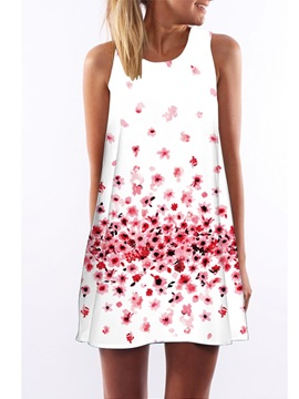 3D Pink Floral Print Crew Neck Sleeveless Women Summer Dress