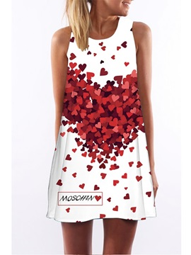 3D Heart Shape Print Crew Neck Sleeveless Women Summer Dress