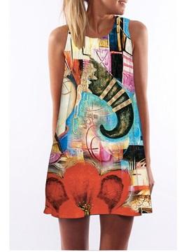 3D Boho Elephant Print Crew Neck Sleeveless Women Summer Dress
