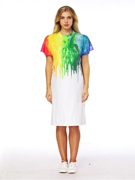 Colliding Color Style 3D Painted Short Sleeve Dress
