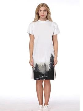 Monochrome Forest Pattern 3D Painted Short Sleeve Dress