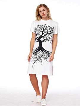 Monochrome Tree 3D Painted Short Sleeve Dress