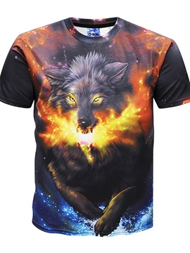 Psychedelic Wolf Round Neck Men 3D Graphic Print Short Sleeve Tee Tops T-Shirt