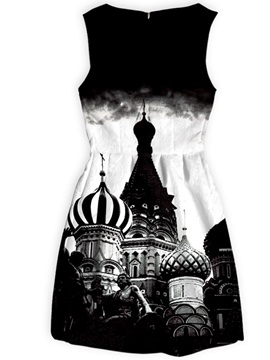 Polyester Material Castles Pattern Above Knee Length Dress for Women