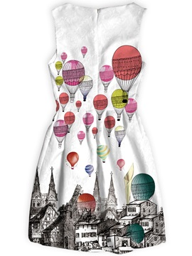 Hot-air Balloons Castles Patterns Polyester Material Dress for Women