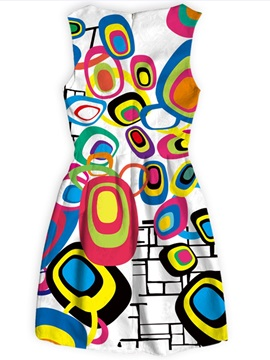 Multicolor Polyester Material Above Knee Length Dress