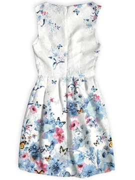 Butterflies&Flowers Pattern Above Knee Length Dress for Women