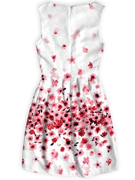 Flowers Pattern Sleeveless Above Knee Length Dress for Women