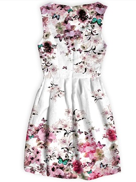 Multicolor Flowers Pattern Above Knee Length Dress for Women