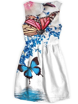 Butterflies Pattern Above Knee Length Polyester Material Dress for Women