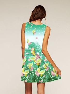 Plants Pattern Sleeveless Style Polyester Material Dress for Women