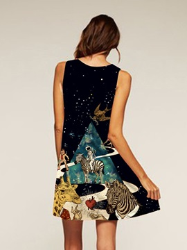 Cartoon Pattern Sleeveless Style Polyester Material Dress for Women