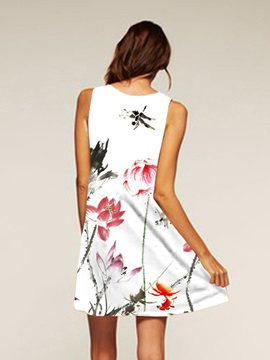 Wash Painting Style Above Knee Length Polyester Material Dress for Women