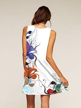 Flowers Pattern Sleeveless Style Multicolor Dress for Women