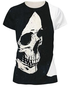 Skull Pattern Black&White Style Round Neck 3D T-shirt