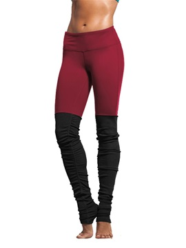 Nylon Material Skinny Model Full Length Moderate Elasticity Color Matching Sport Pants