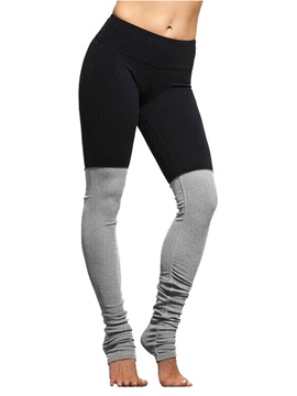 Polyester Material Color Matching Style Moderate Elasticity Full Length Sport Pants
