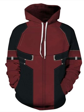 Long Sleeve Black and Red Pattern 3D Painted Hoodie
