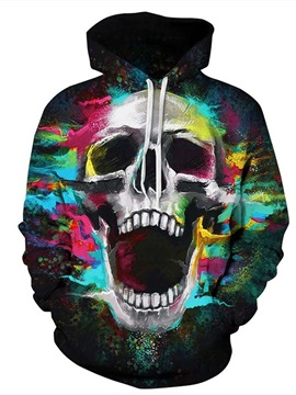 Colorful Skull Pattern 3D Painted Couples Polyester Hoodie