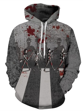 Gray Couples 3D Bloody Pattern Long Sleeve Polyester Cool Hoodie