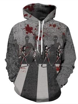 Gray Long Sleeve Bloody Pattern 3D Painted Hoodie