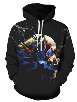 Skull Pattern Black 3D Polyester Couples Cool Hoodie