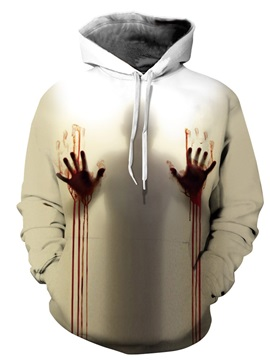 3D Couples Long sleeve Polyester Bloody Hand Pattern Hoodie