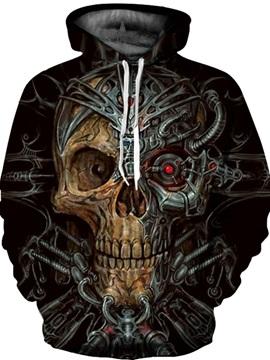 Popular Long Sleeve Mechanical Skull Pattern 3D Painted Hoodie